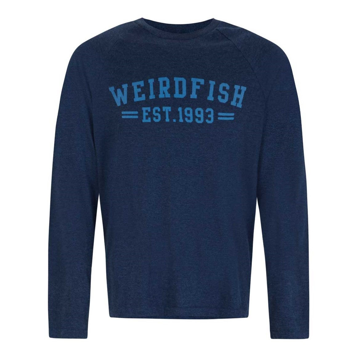 Weird Fish Afflek Long Sleeve Graphic Print T-Shirt Moonlight Blue Marl