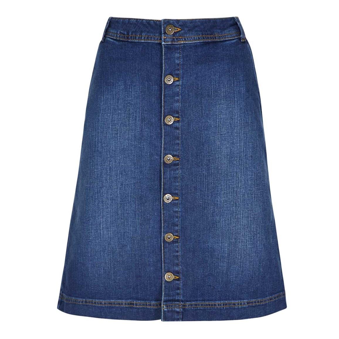 Weird Fish Vixey Denim Skirt Dark Blue Size 10