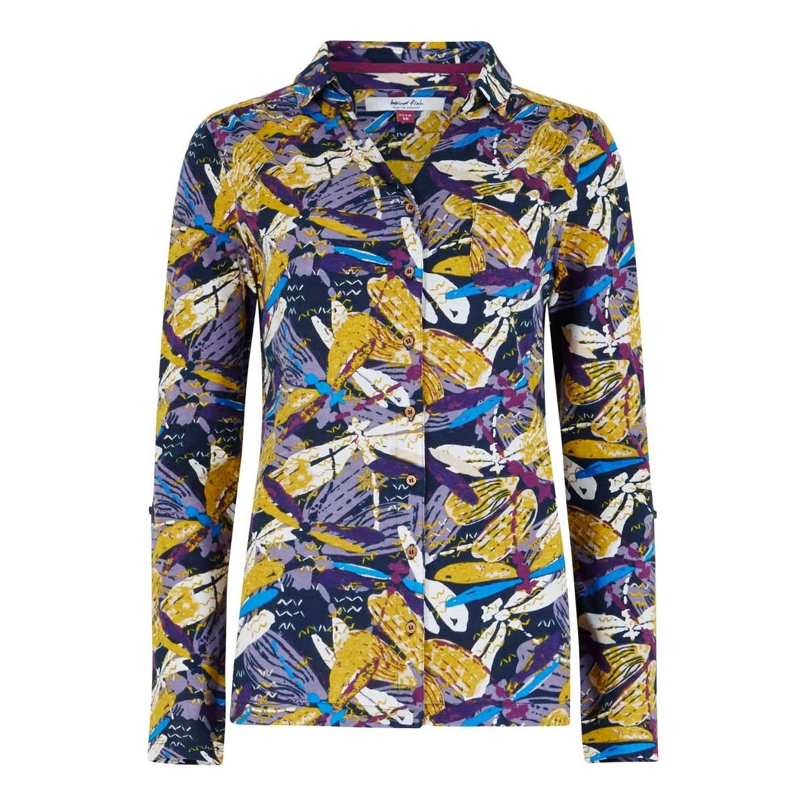 Weird Fish Agua Printed Jersey Shirt Mulberry