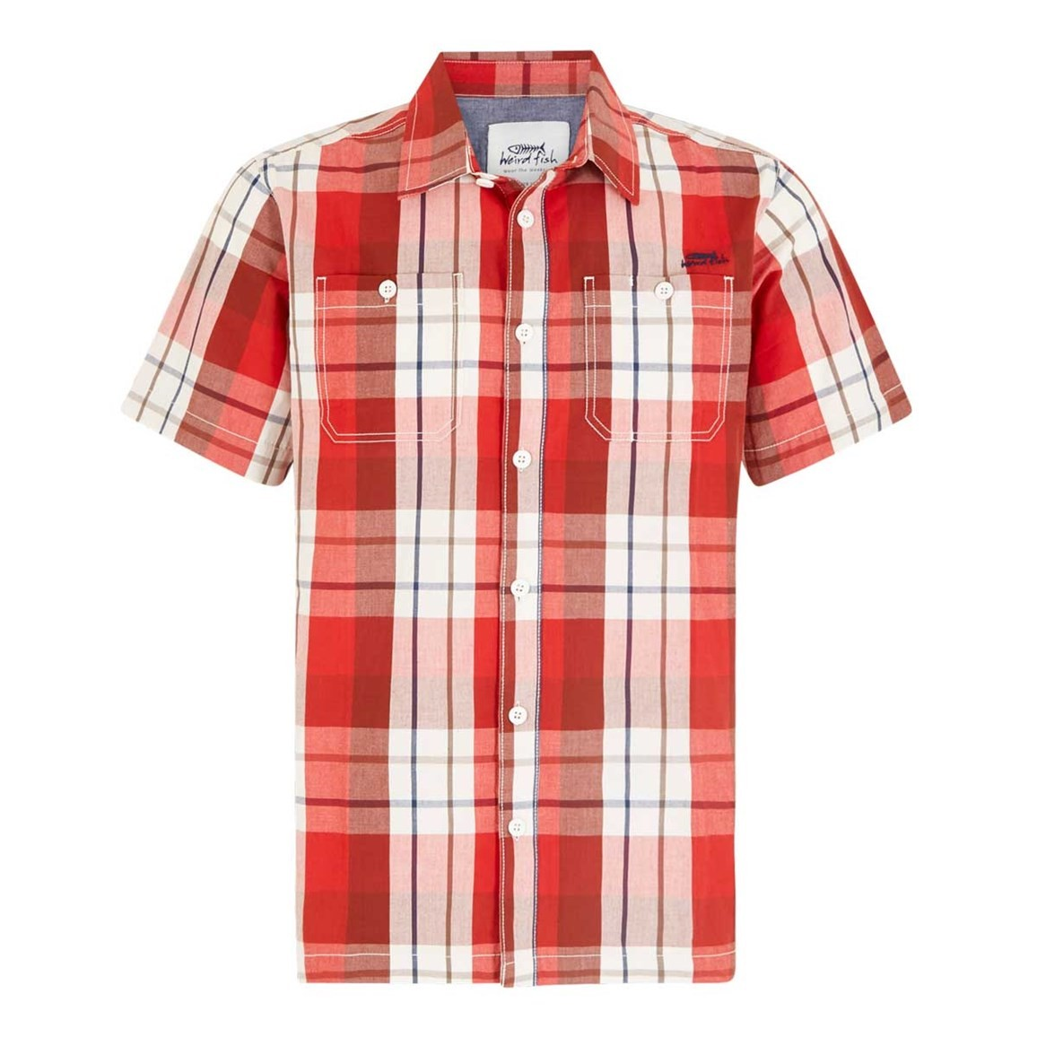 Weird Fish Farley Short Sleeve Check Shirt Tango Red