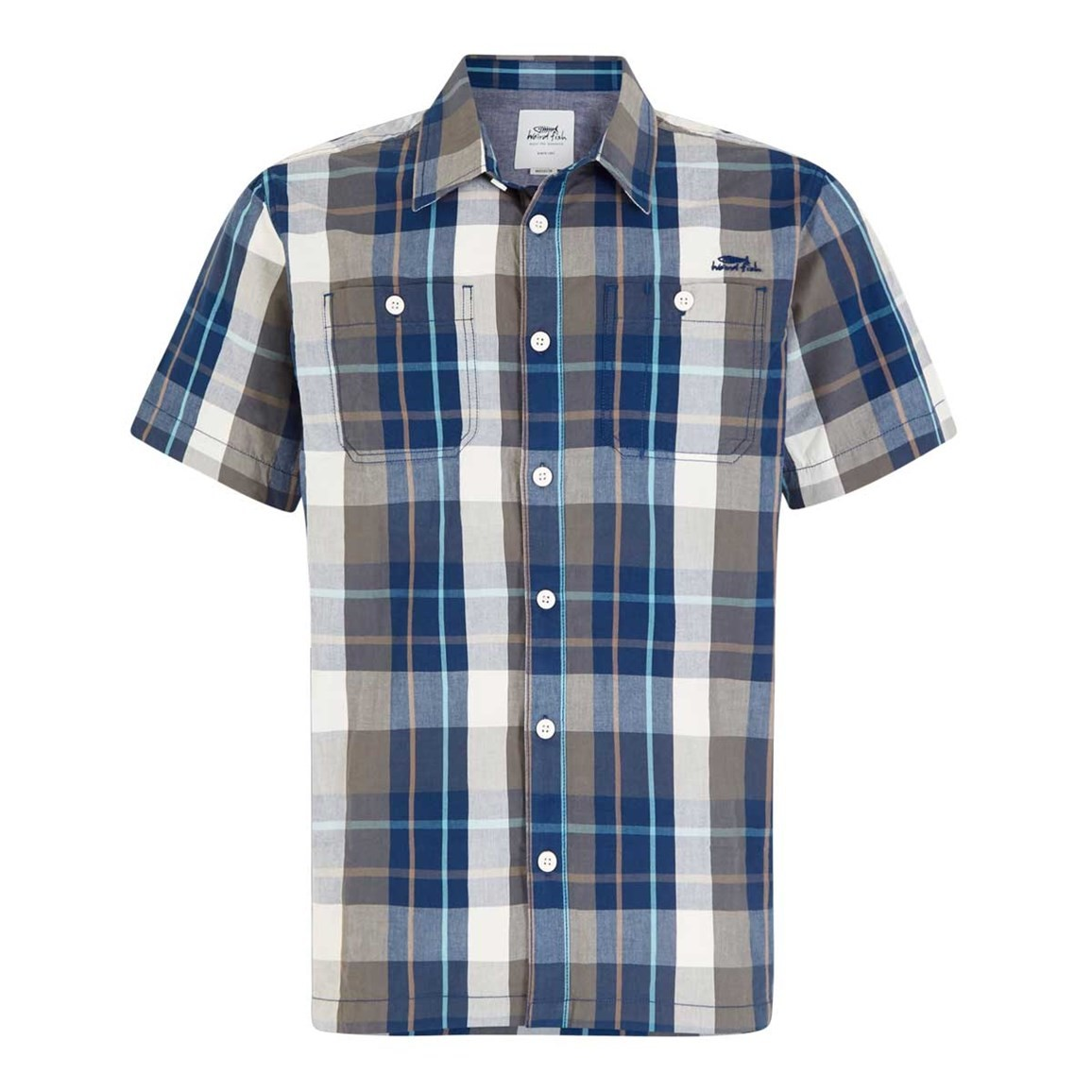 Weird Fish Farley Short Sleeve Check Shirt Flint Stone