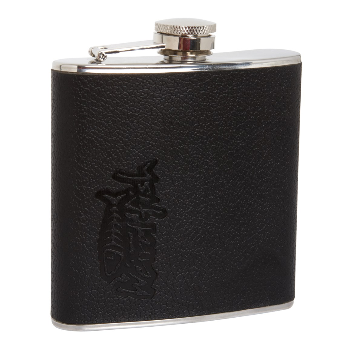 Image of Weird Fish Teton Leather Covered Hipflask Black Size ONE