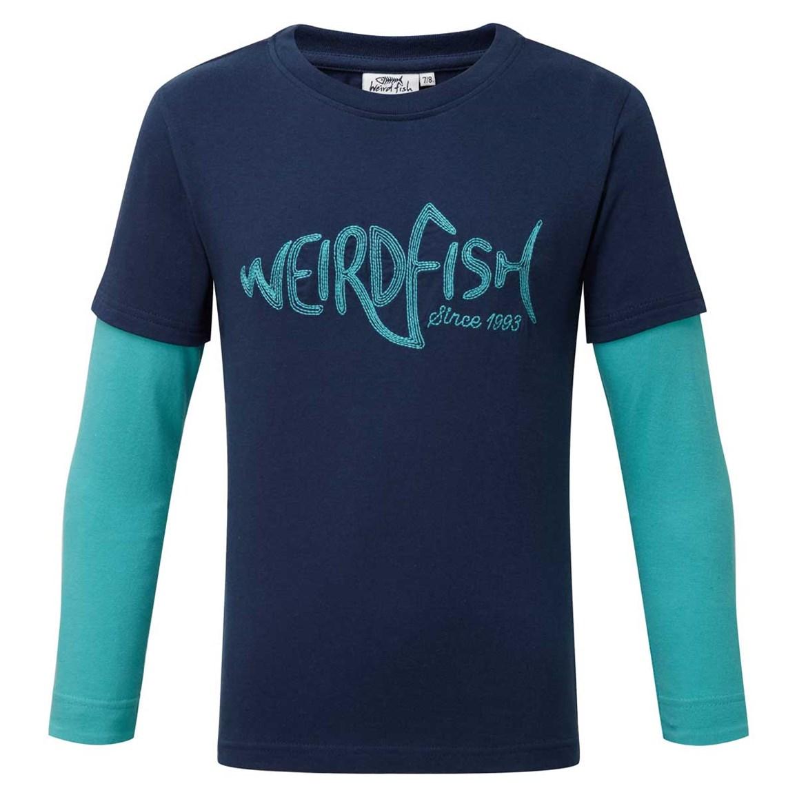 Weird Fish Shark Long Sleeve Graphic Print T-Shirt Insignia Blue Size 11-12
