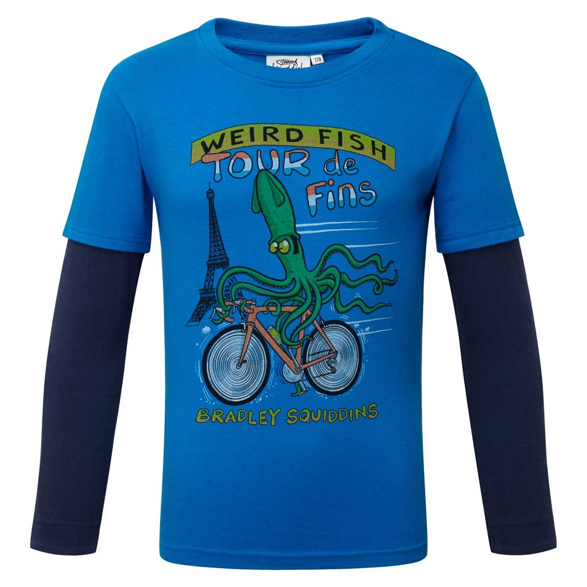 Weird Fish Squid Long Sleeve Graphic Print T-Shirt Skydiver Blue Size 11-12