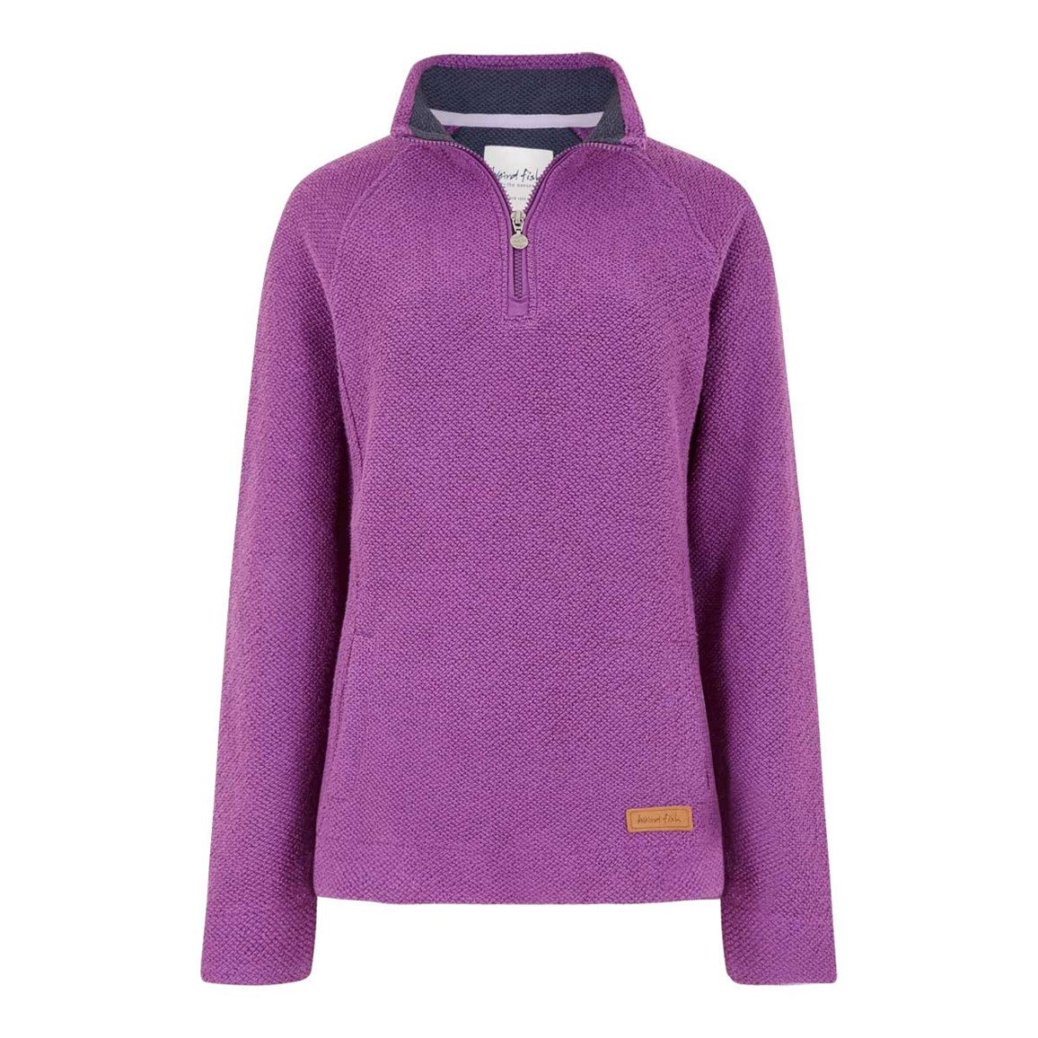 Weird Fish Augusta 1/4 Zip Siera Knit Sweatshirt Mulberry
