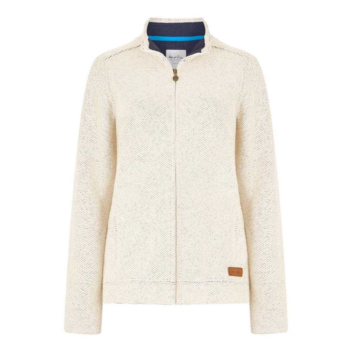 Weird Fish Eartha Full Zip Siera Soft Knit Jacket Ivory