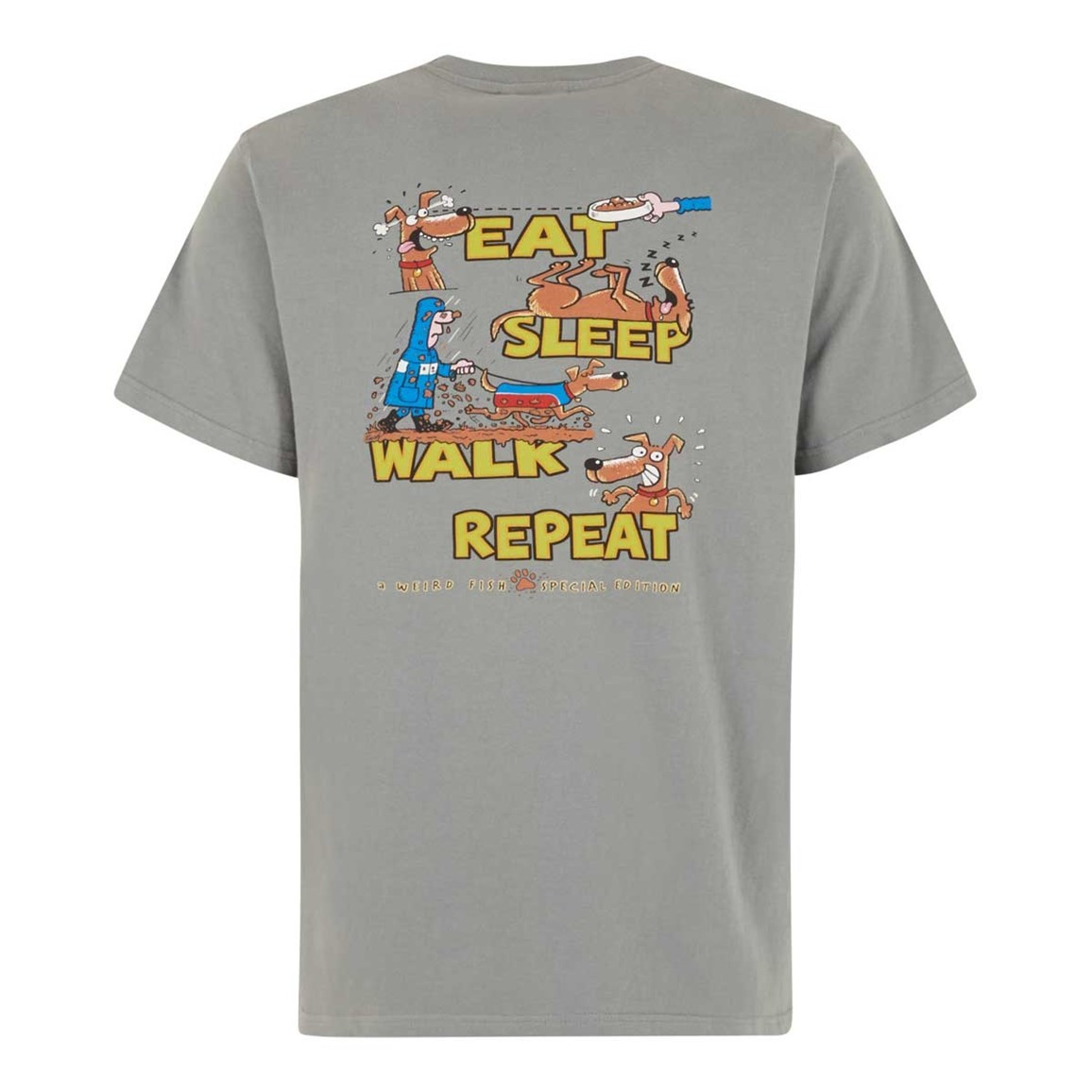 Weird Fish Eat Sleep Walk Artist T-Shirt Grey Blue
