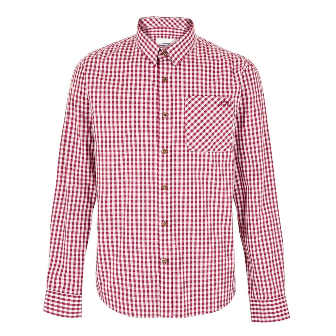 Weird Fish Lougheed Long Sleeve Mini Check Shirt Dark Red