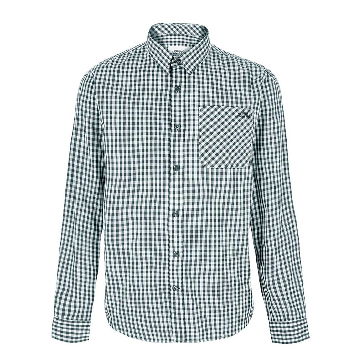 Weird Fish Lougheed Long Sleeve Mini Check Shirt Evergreen