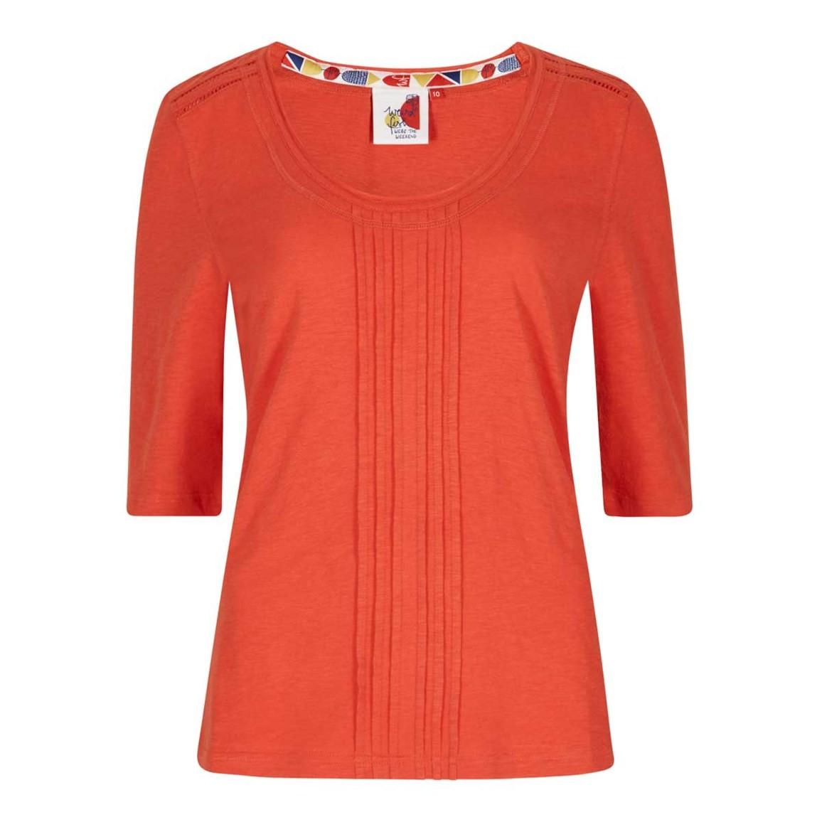 Weird Fish Santana Slub Jersey Outfitter T-Shirt Tango Red Size 10