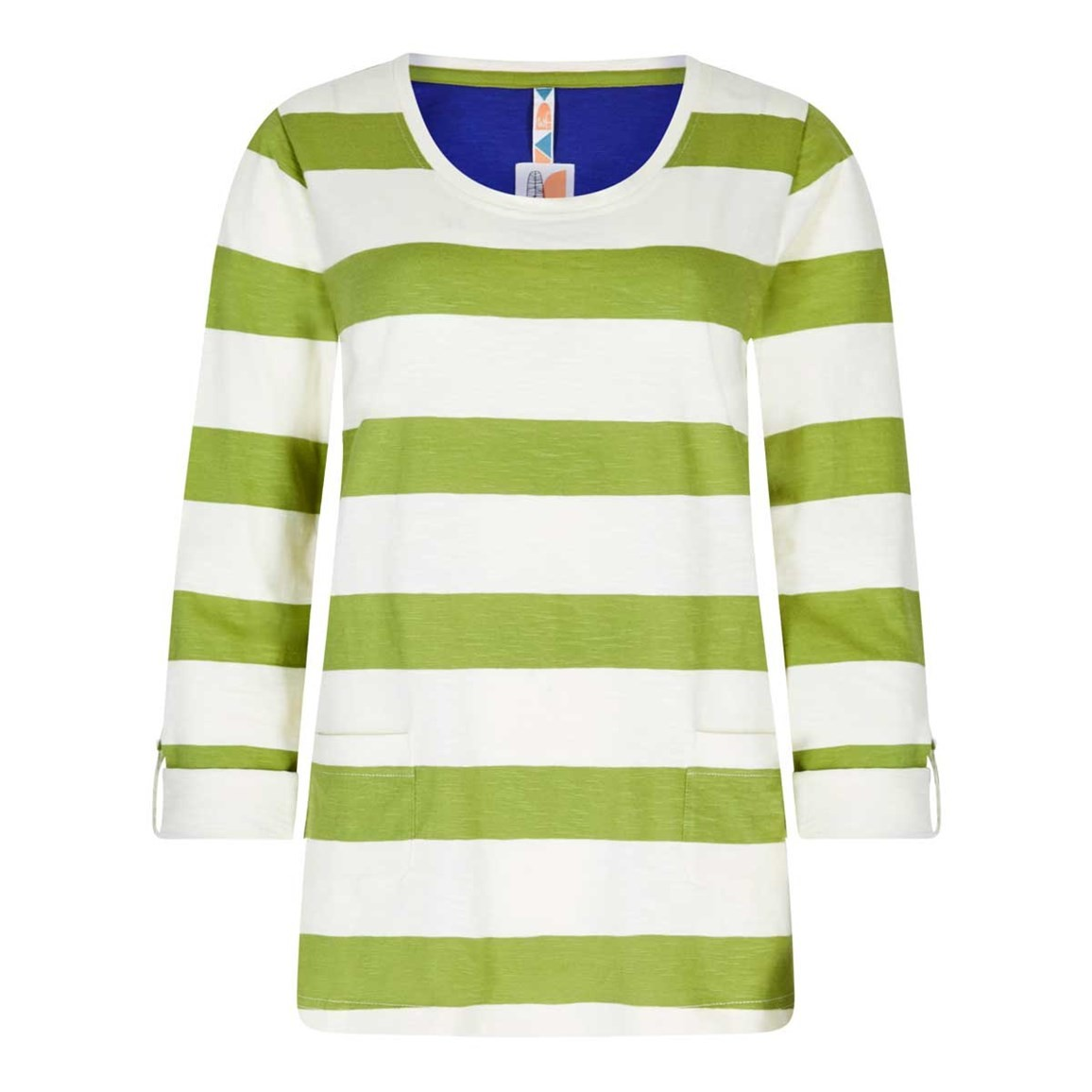 Weird Fish Ajay Cotton Slub Stripe Long Sleeve T-Shirt Lime