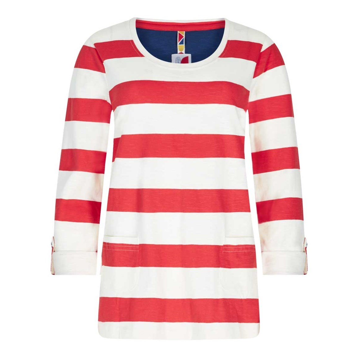 Weird Fish Ajay Cotton Slub Stripe Long Sleeve T-Shirt Tango Red