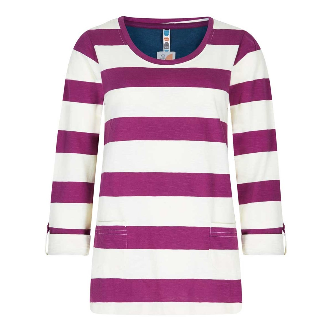Weird Fish Ajay Cotton Slub Stripe Long Sleeve T-Shirt Boysenberry