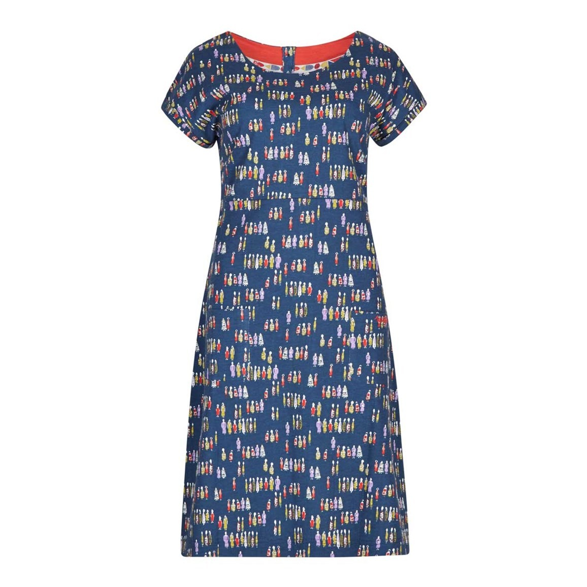 Weird Fish Tallahassee Printed Cotton Jersey Dress Navy