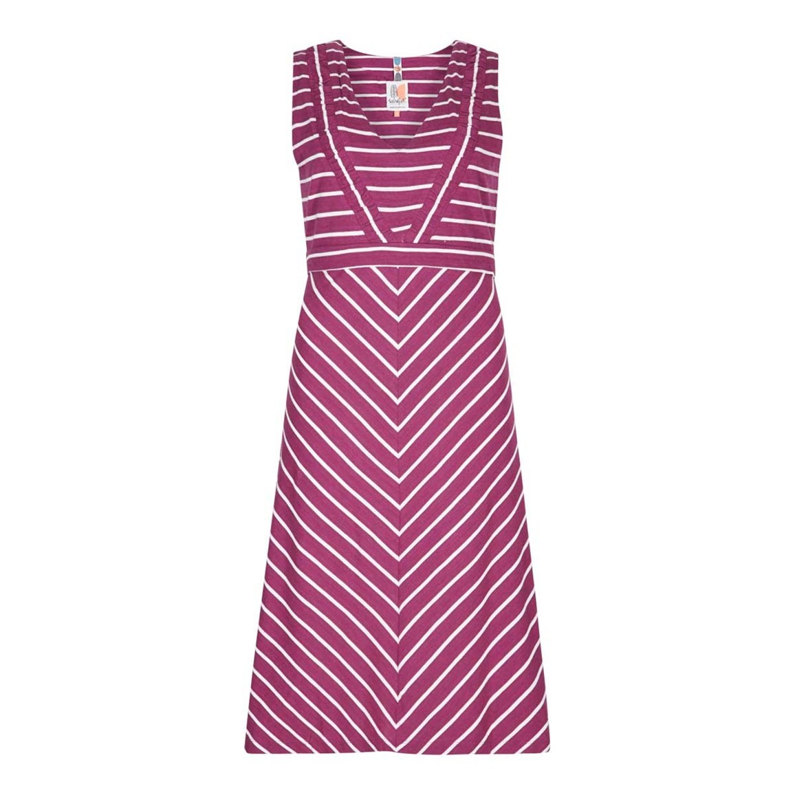 Weird Fish Pascale Lightweight Striped Dress Boysenberry