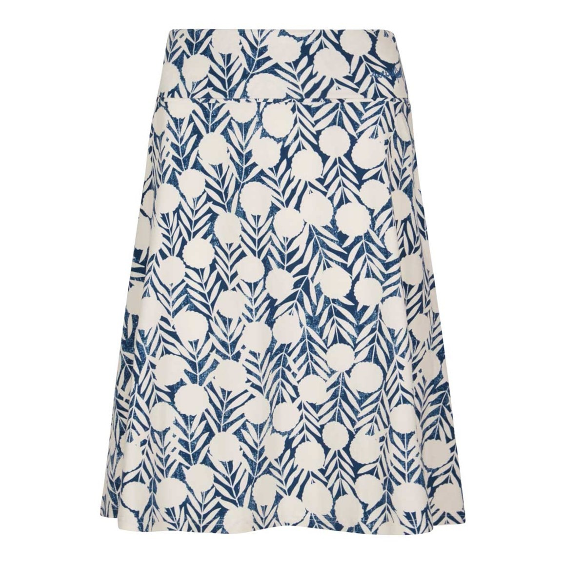 Weird Fish Malmo Printed Jersey Skirt Dark Denim Size 10