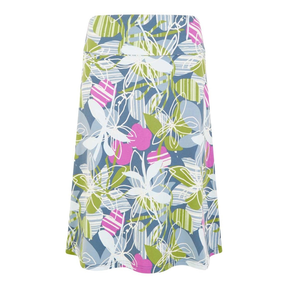 Weird Fish Malmo Printed Jersey Skirt Petrol Blue