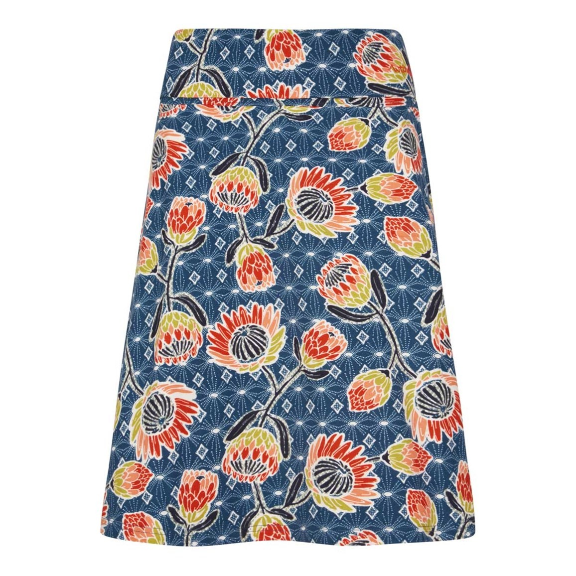 Weird Fish Malmo Printed Jersey Skirt Dark Navy Size 10