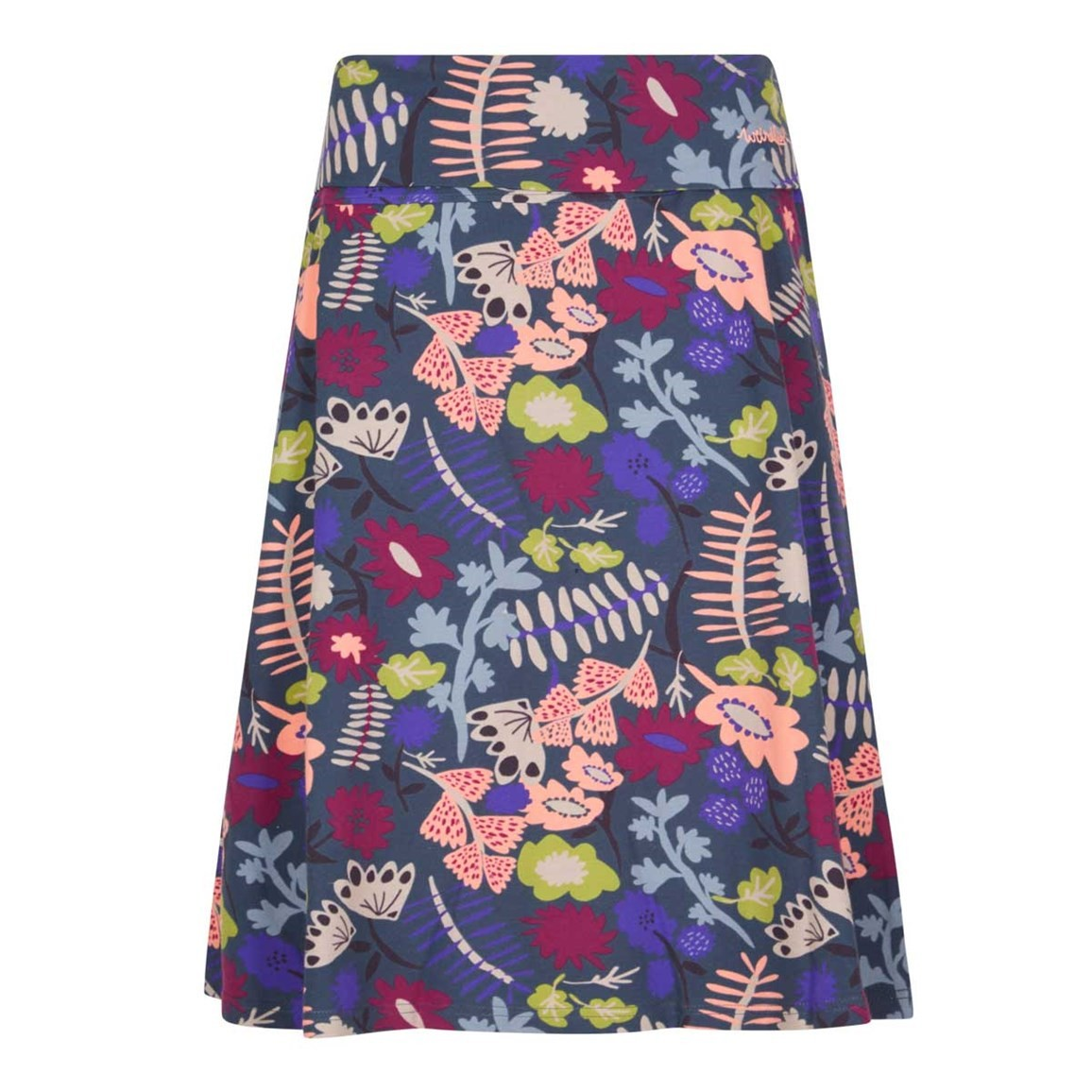 Weird Fish Malmo Printed Jersey Skirt Dusty Teal