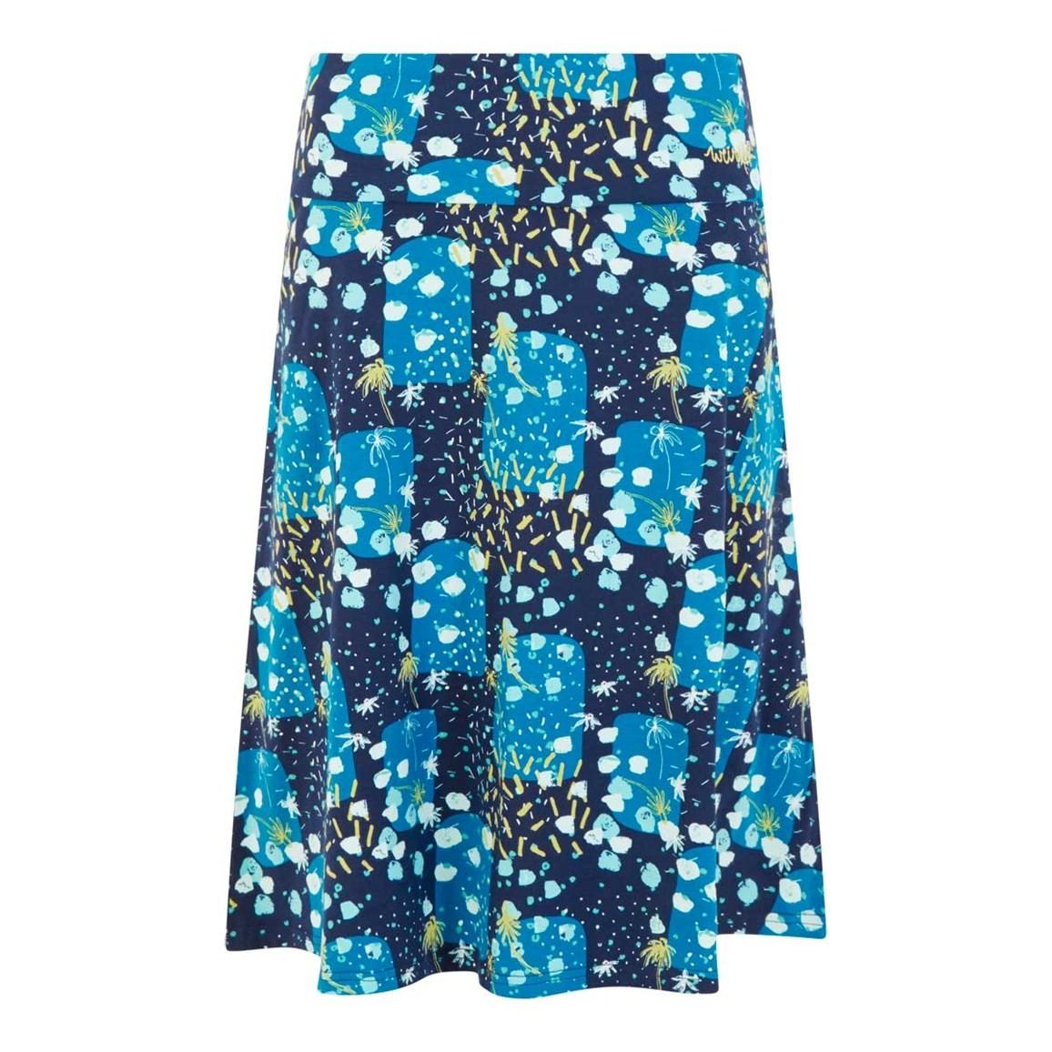 Weird Fish Malmo Printed Jersey Skirt Blue Sapphire Size 10