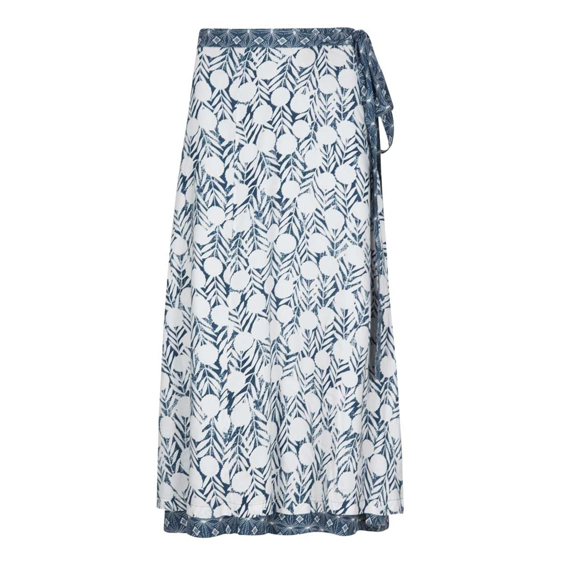 Weird Fish Shana Reversible Printed Midi Wrap Skirt Dark Denim