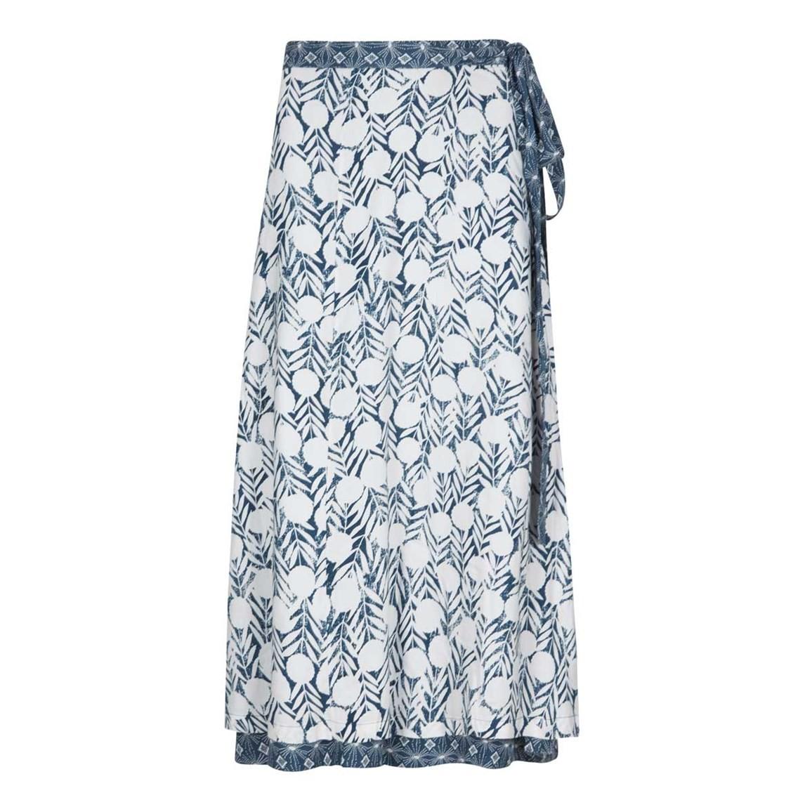 Weird Fish Shana Reversible Printed Midi Wrap Skirt Dark Denim Size 10