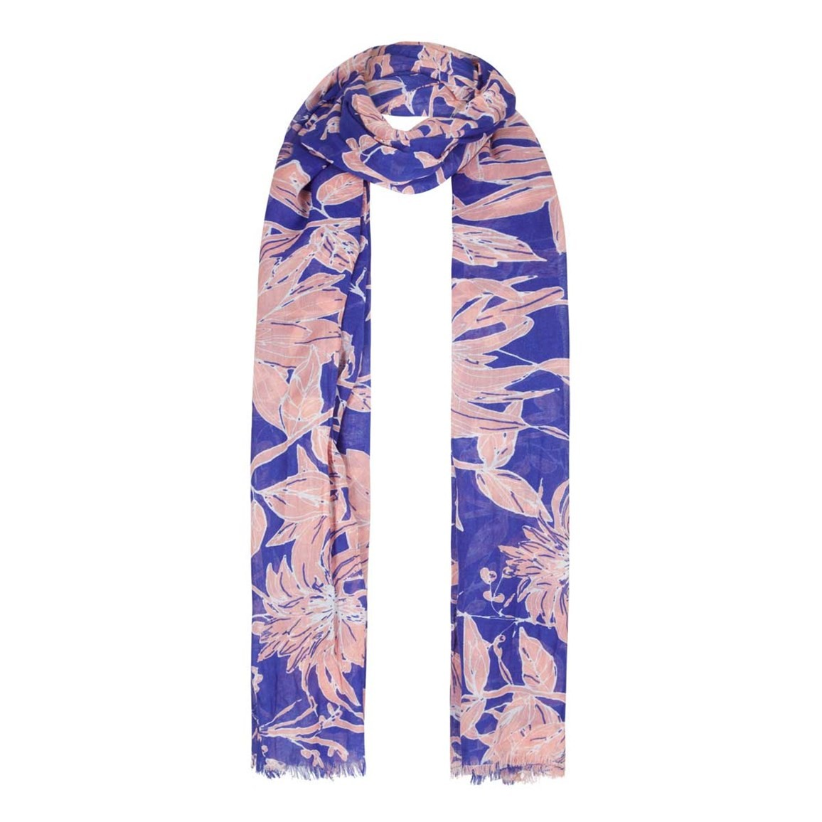 Weird Fish Alverton All Over Print Scarf Clematis Blue Size ONE
