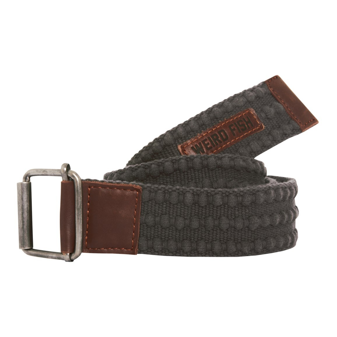 Weird Fish Olrog Textured Webbing Belt Dark Grey