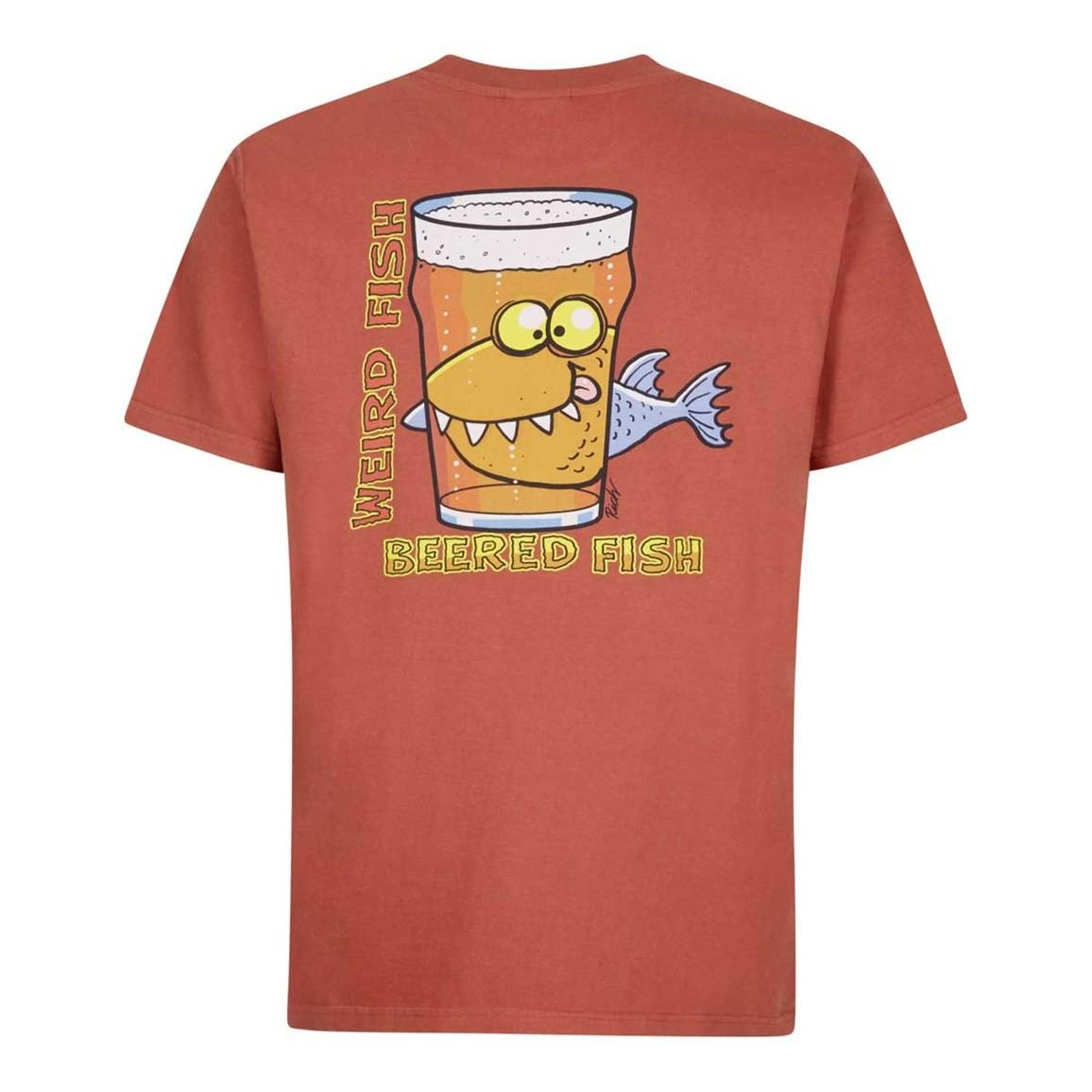 Weird Fish Beered Fish Artist T-Shirt Brick Red Size 2XL