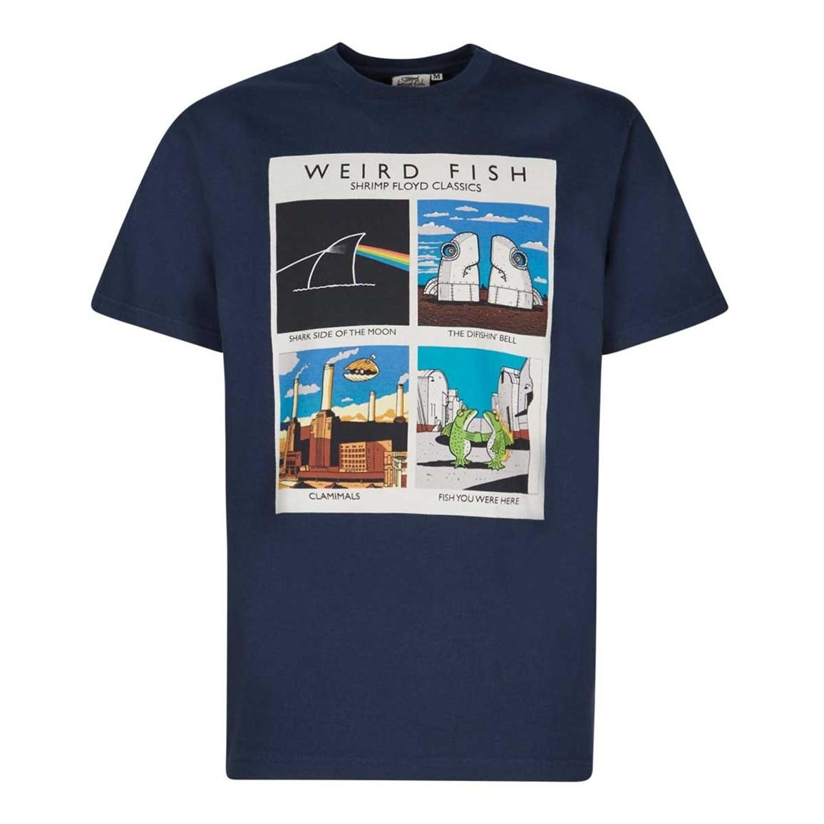 Weird Fish Shrimp Floyd Artist T-Shirt Maritime Blue Size 2XL