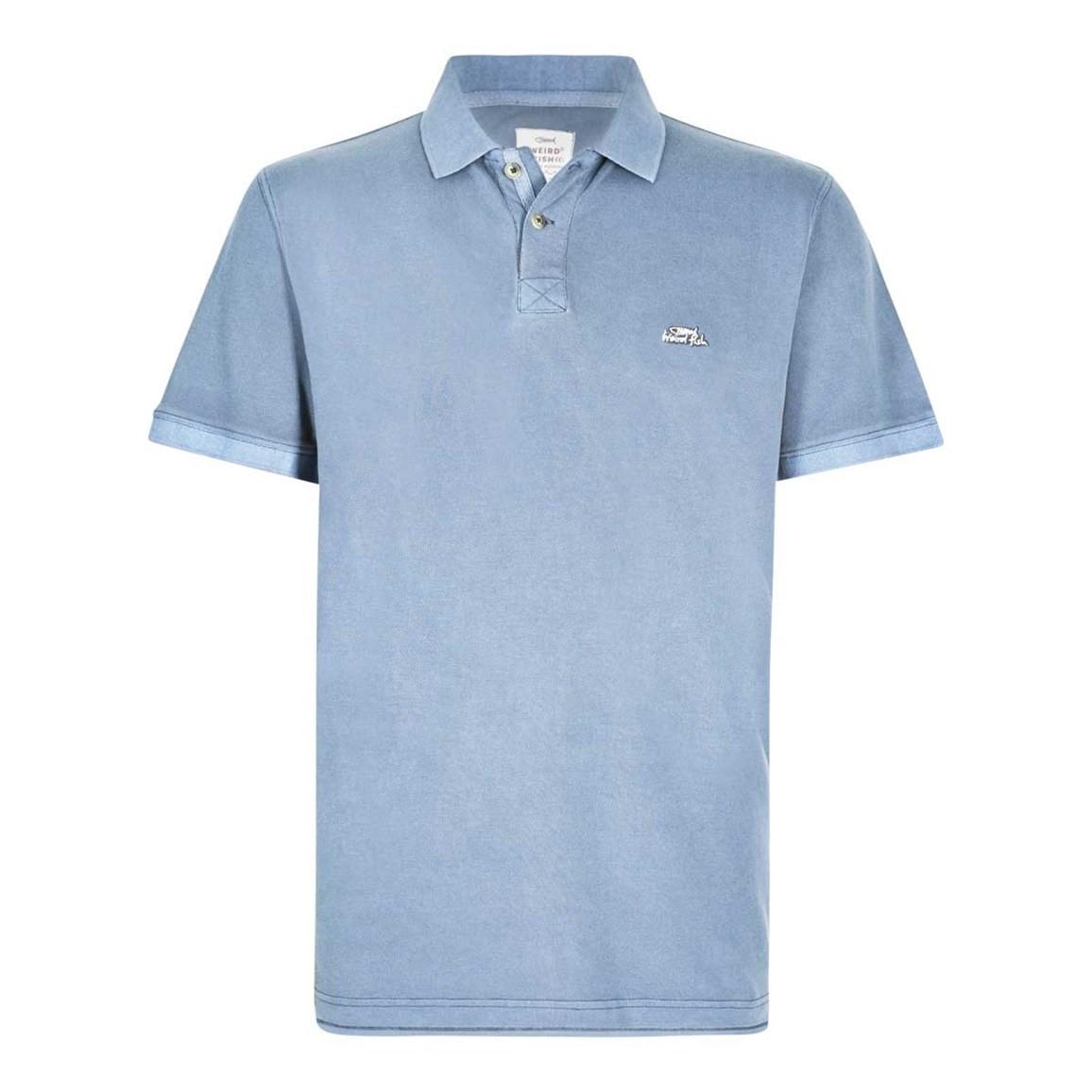 Weird Fish Edwin Garment Dyed Polo Shirt Pale Denim