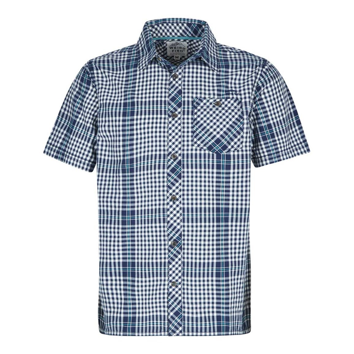 Weird Fish Frobe Short Sleeve Shirt Maritime Blue