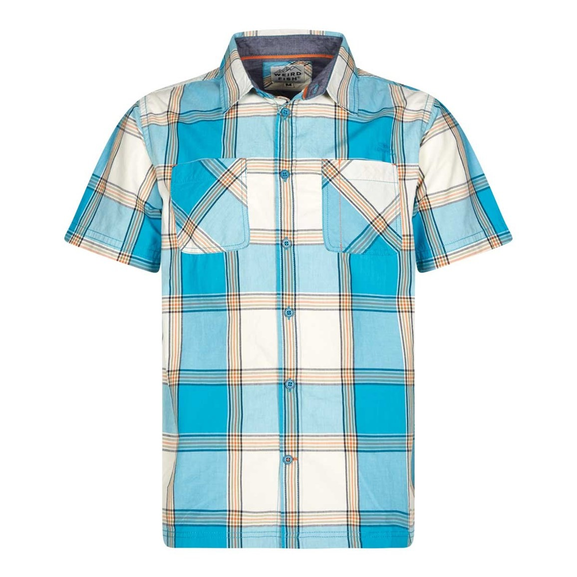Weird Fish Trevelyan Micro Sanded Short Sleeve Check Shirt Bright Blue