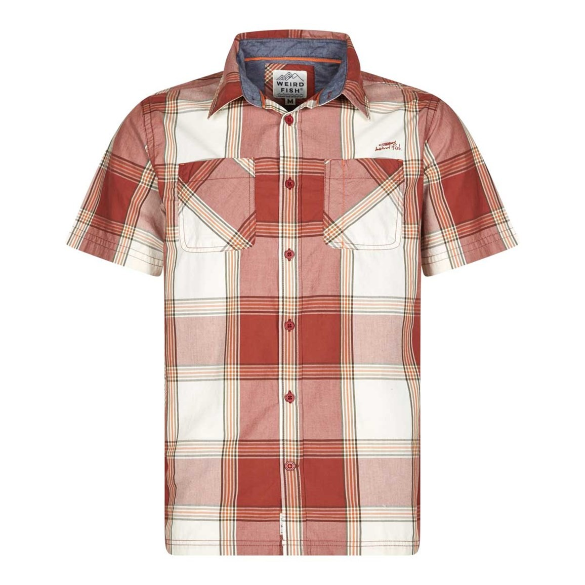 Weird Fish Trevelyan Micro Sanded Short Sleeve Check Shirt Baked Apple