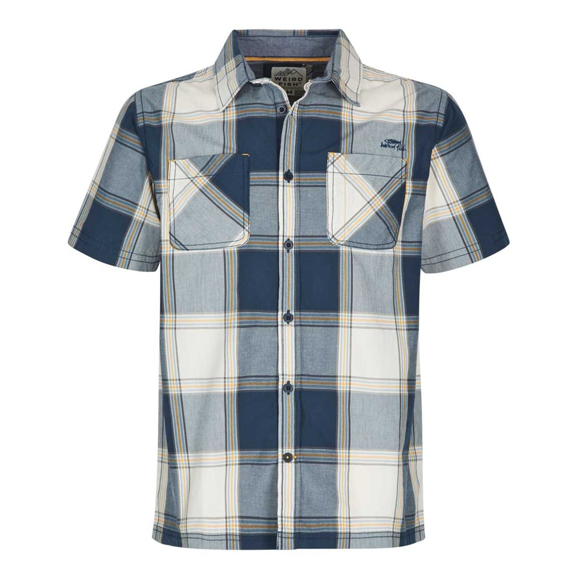 Weird Fish Trevelyan Micro Sanded Short Sleeve Check Shirt Maritime Blue