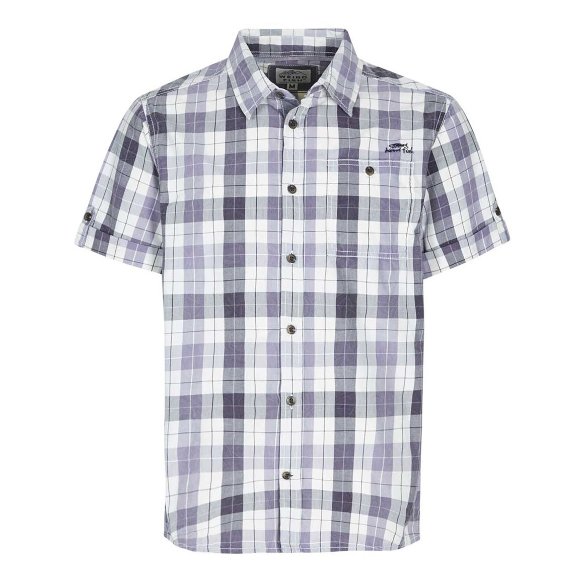 Weird Fish Wint Vintage Wash Short Sleeve Check Shirt Coal