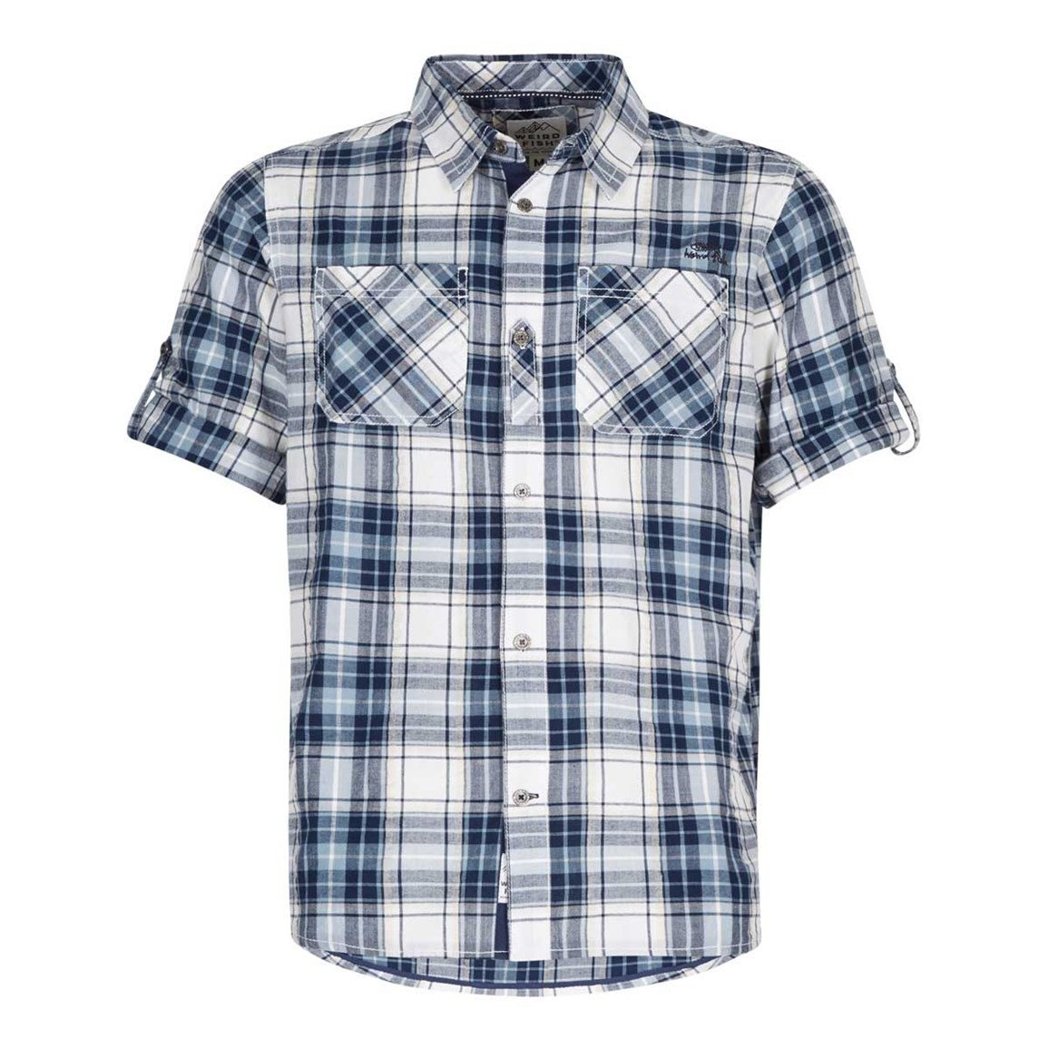 Weird Fish Palazzi Seersucker Short Sleeve Check Shirt Maritime Blue