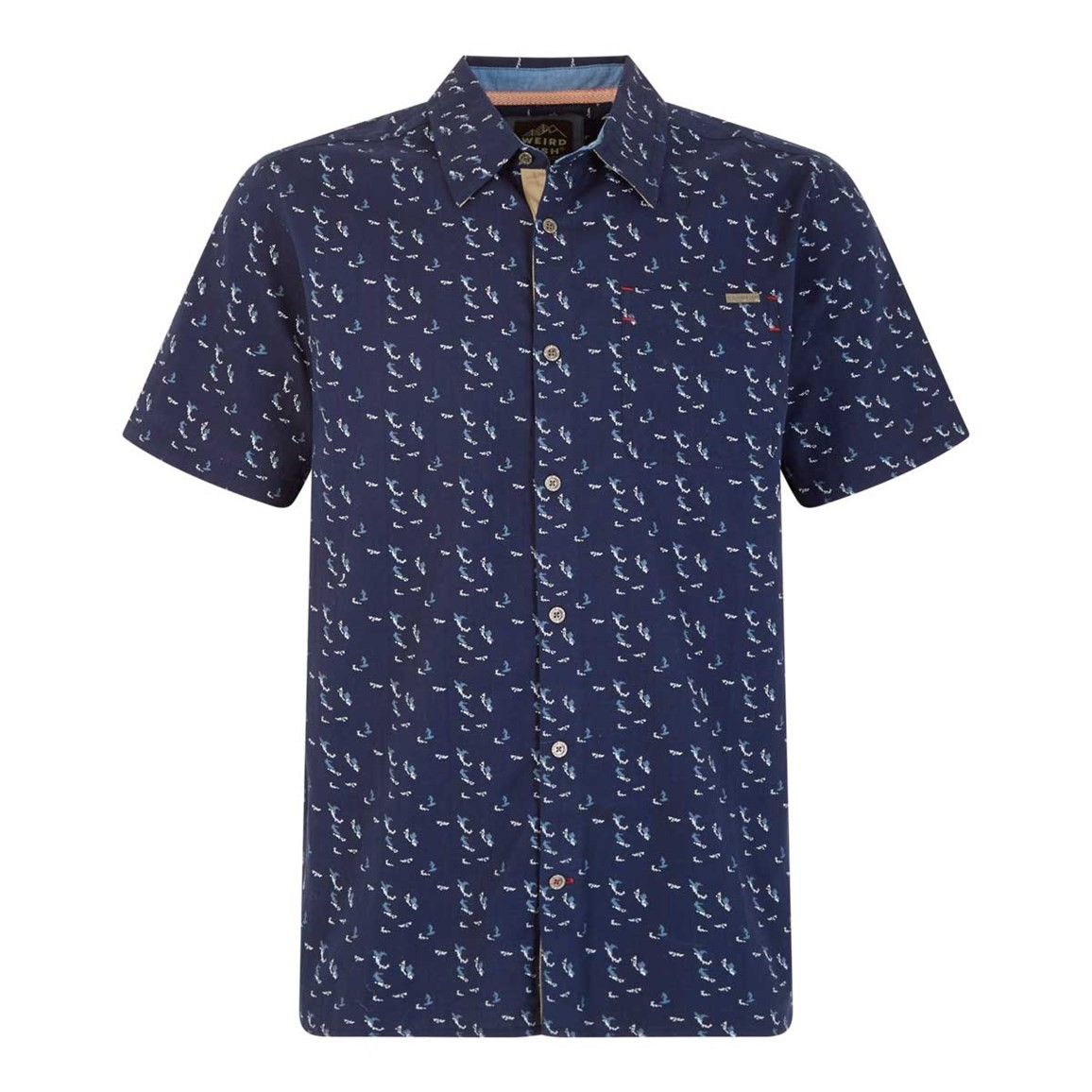 Weird Fish Wade Micro Print Herringbone Short Sleeve Shirt Maritime Blue