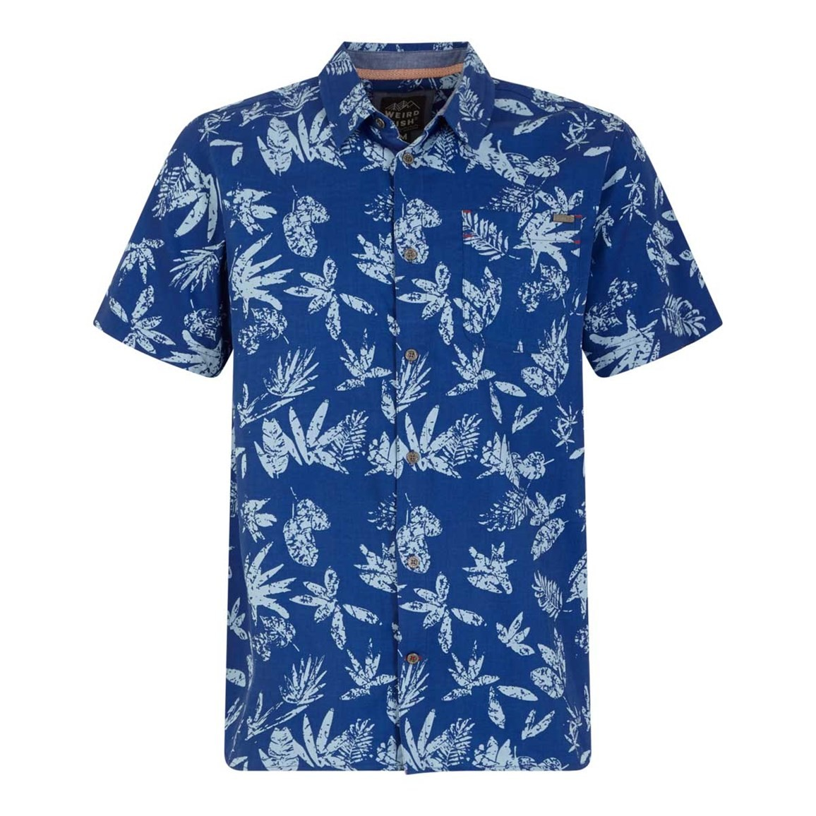 Weird Fish Mullins Hawaiian Short Sleeve Shirt Deep Ocean