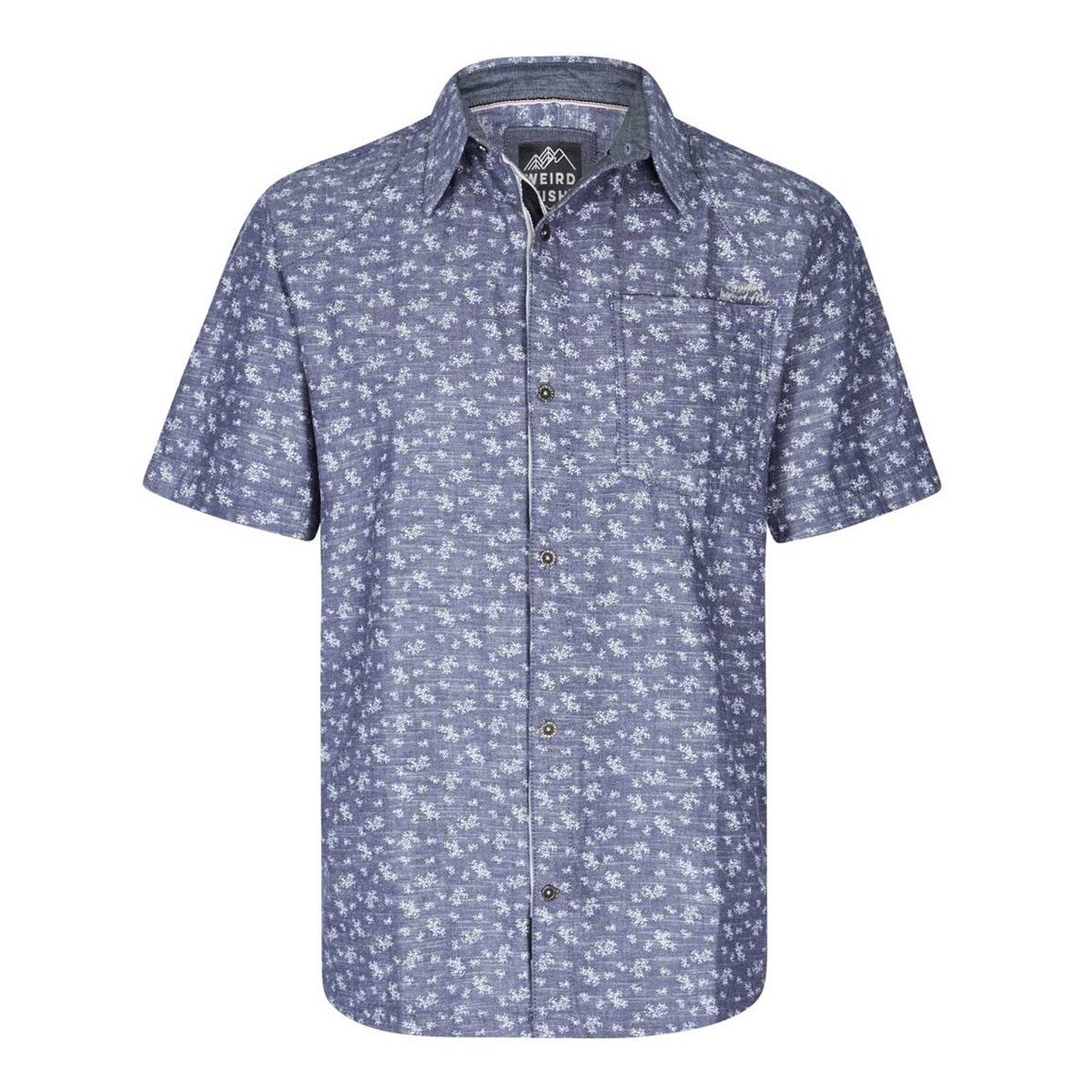 Weird Fish Niven Floral Print Short Sleeve Shirt Denim