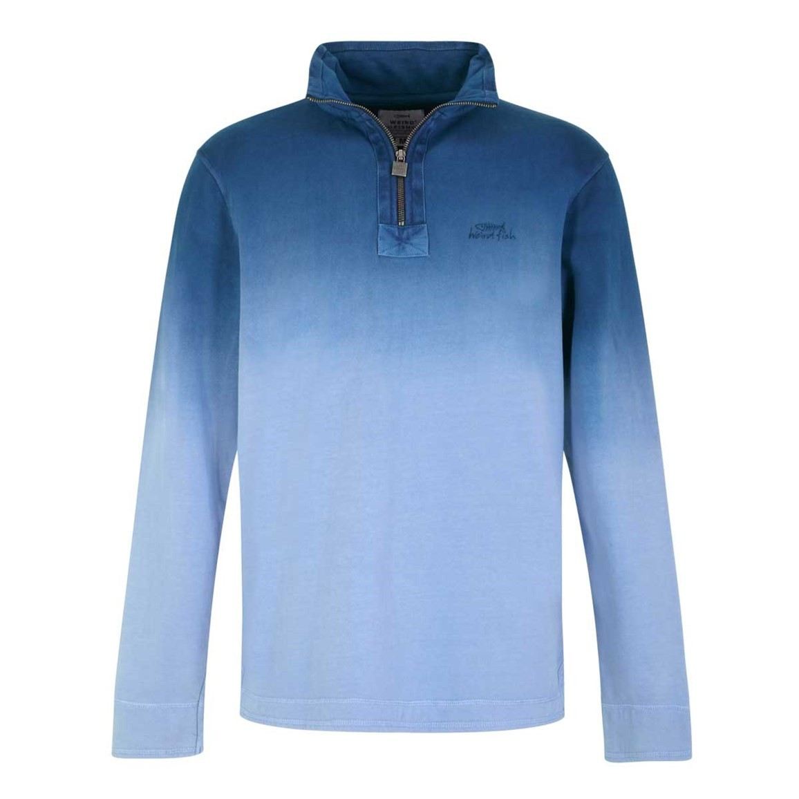 Weird Fish Redwood Dye 1/4 Zip Sweat Maritime Blue