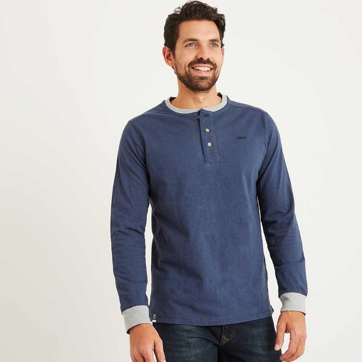 Weird Fish Maurice Button Neck Long Sleeve T-Shirt Maritime Blue Size 2XL