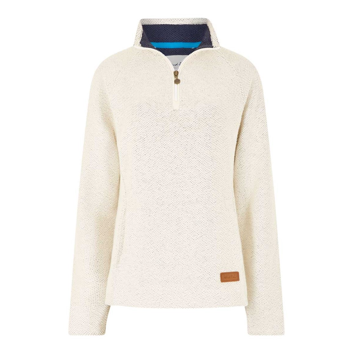 Weird Fish Augusta 1/4 Zip Siera Knit Sweatshirt Ivory