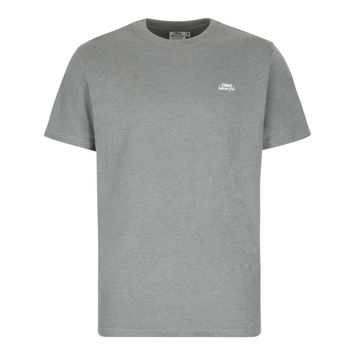 Weird Fish Bones Embroidered Logo Classic Plain T-Shirt Pewter Marl