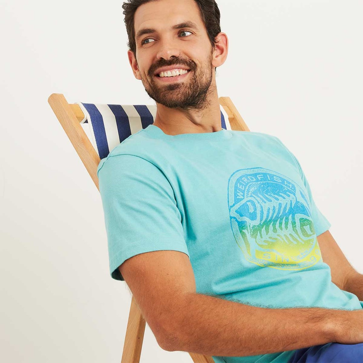 Weird Fish Gradient Bones Graphic Print T-Shirt Menthol Marl