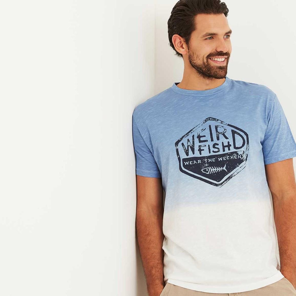 Onslow Graphic Print Dip Dyed T Shirt Pale Denim