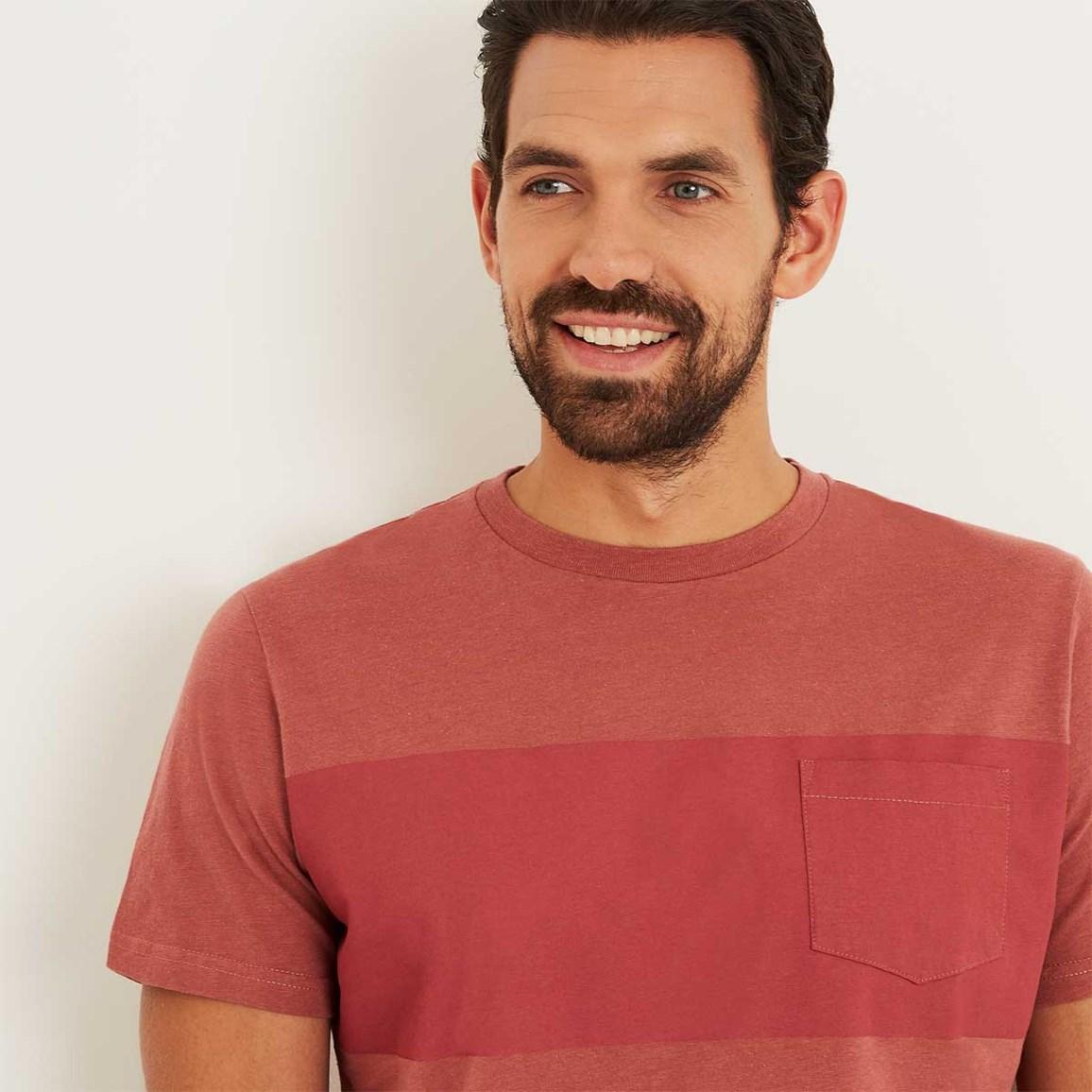 Weird Fish Jenthe Printed Chest Stripe T-Shirt Brick Red Size 2XL