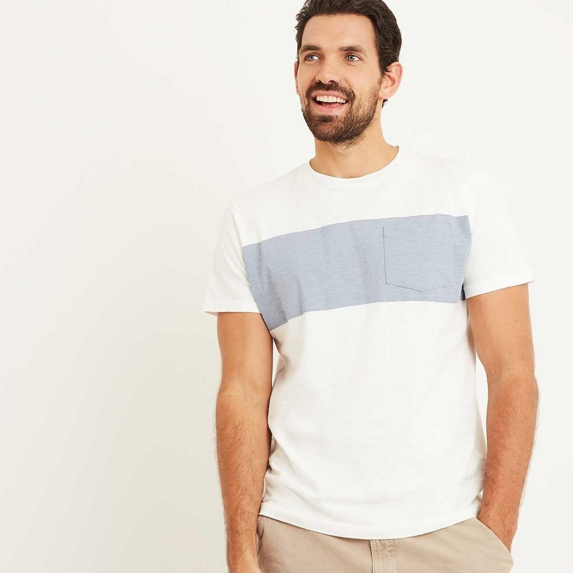 Weird Fish Jenthe Printed Chest Stripe T-Shirt Marshmallow Size 2XL