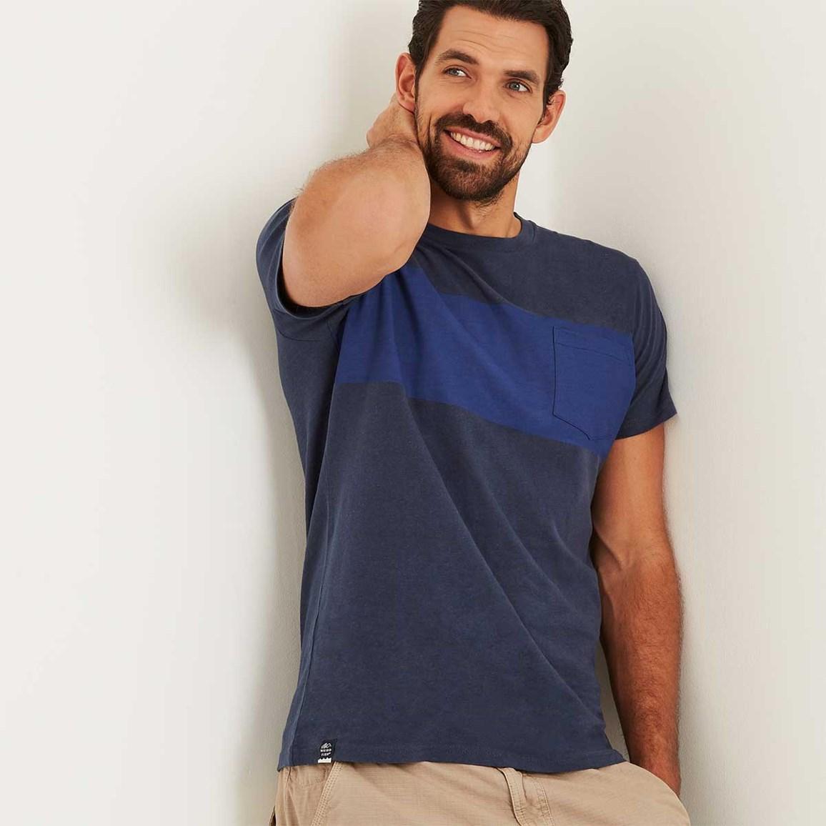 Weird Fish Jenthe Printed Chest Stripe T-Shirt Maritime Blue Size 2XL