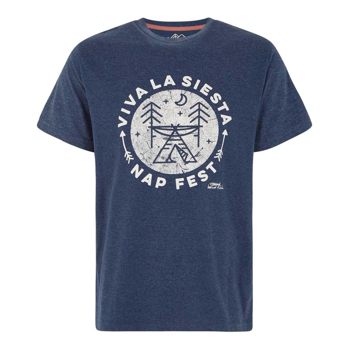 Weird Fish Carlo Graphic Print T-Shirt Maritime Blue Marl Size 2XL